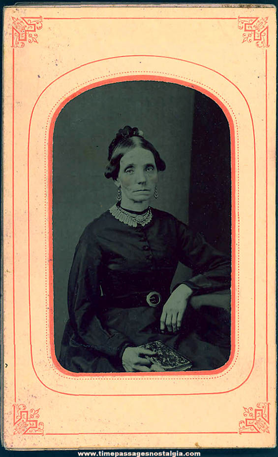 1800s Tintype Photograph of a Women with a Book In Original Paper Frame Folder