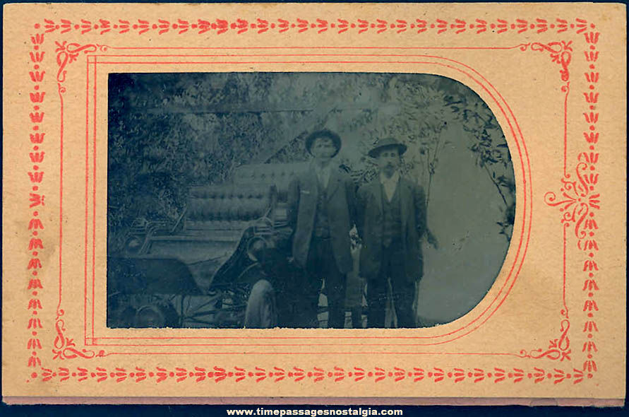 1800s Tintype Photograph of (2) Young Men With An Early Automobile In Original Paper Frame Folder
