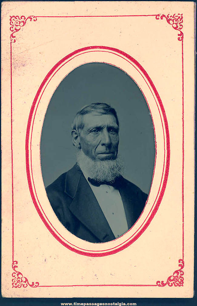 1800s Tintype Photograph of A Bearded Man In A Suit and Tie In Original Paper Frame Folder