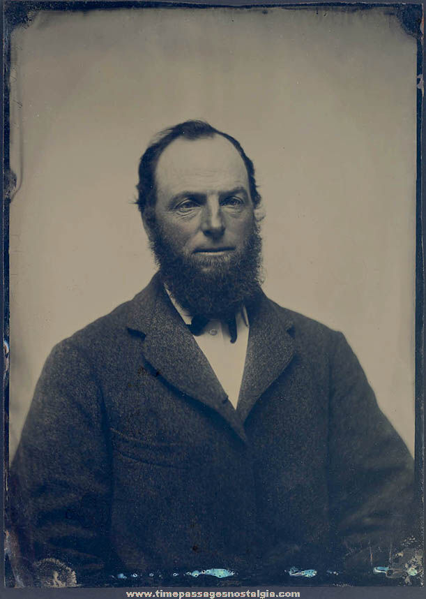 Large 1800s Tintype Portrait Photograph of A Bearded Man