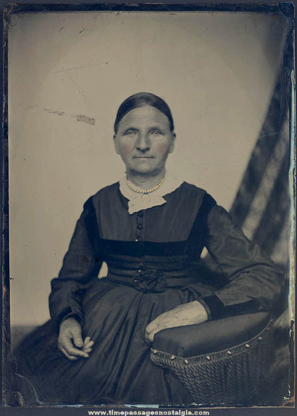 Large 1800s Tintype Portrait Photograph of A Seated Woman