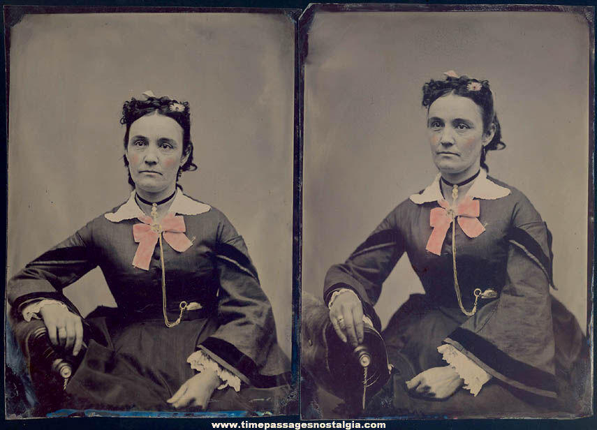 (2) Large 1800s Tintype Portrait Photographs of A Seated Woman