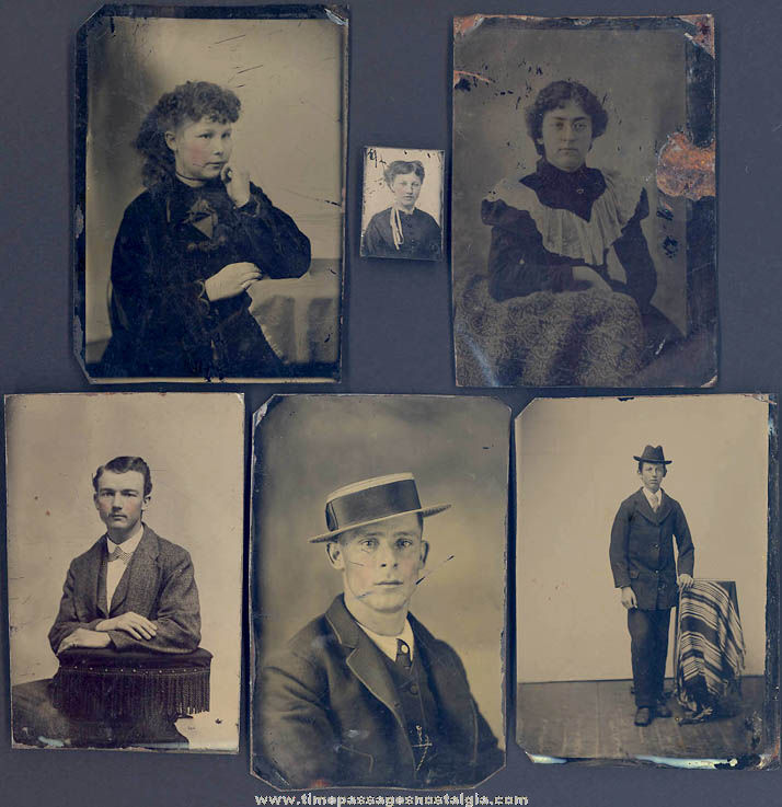 (6) Different Small 1800s Tintype People Portrait Photographs