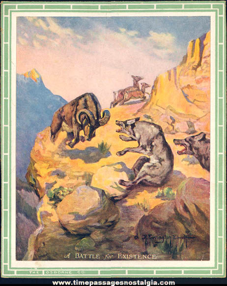 (9) Different Small Colorful Old Hunter or Hunting Scene Art Prints