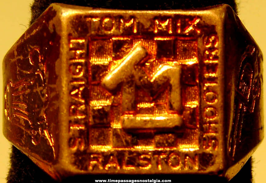 1935 Ralston Cereal Advertising Premium Tom Mix Straight Shooters Lucky Toy Brass Logo Ring