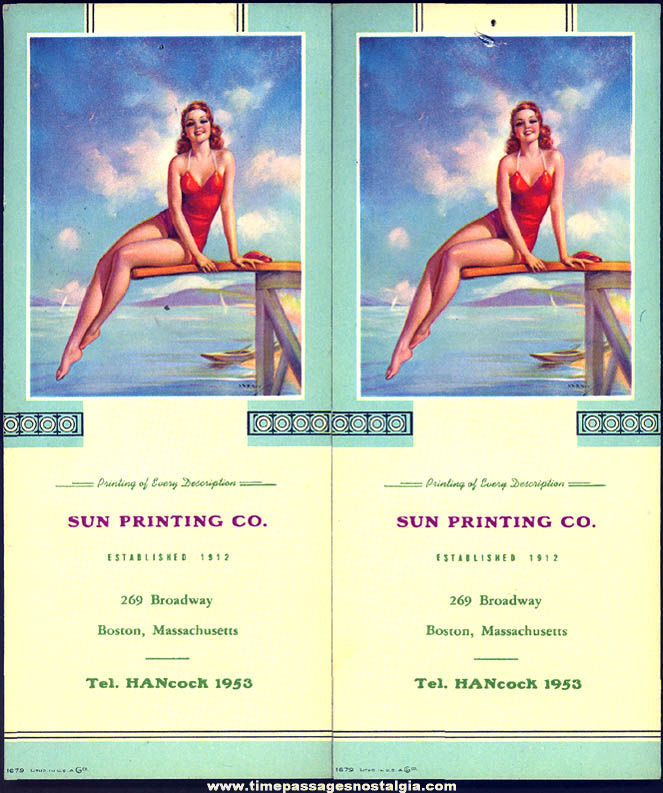 (2) Matching Old Risque Bathing Beauty Lady Advertising Premium Ink Pen Blotters