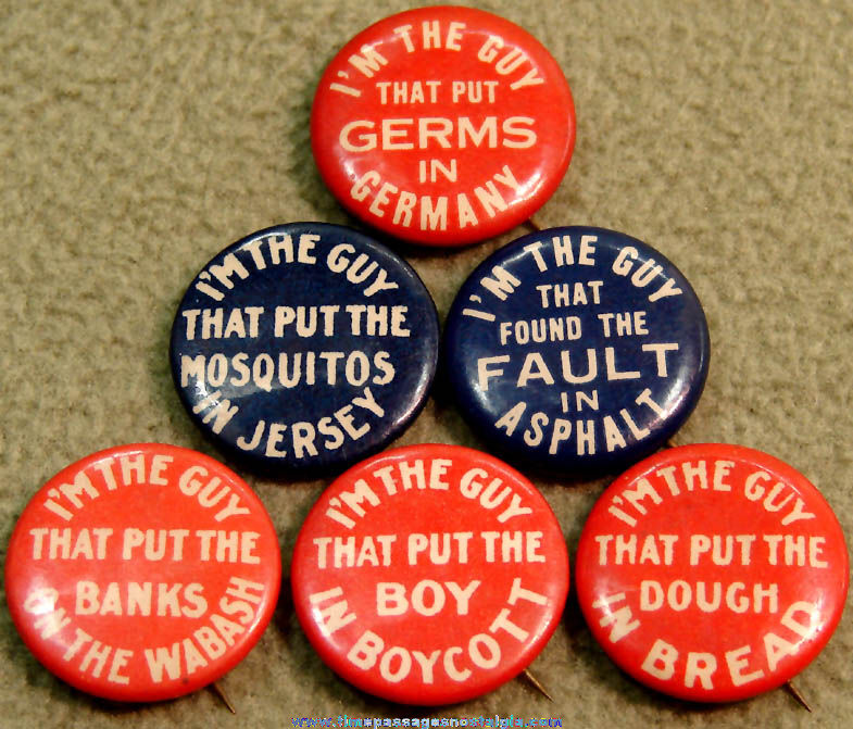(6) Old Chesterfield Cigarettes Advertising Premium I'm The Guy Celluloid Pin Back Buttons