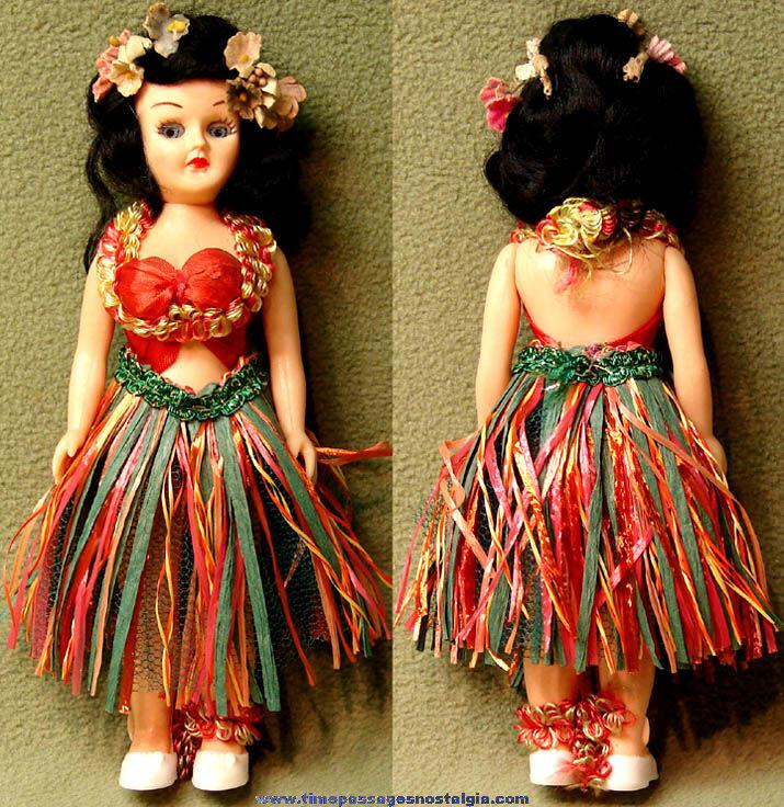Colorful Old Dressed Hawaiian Hula Dancer Girl Toy Doll