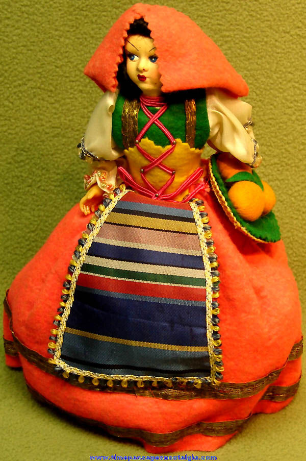 Colorful Old Dressed Italian Woman Toy Doll with Basket