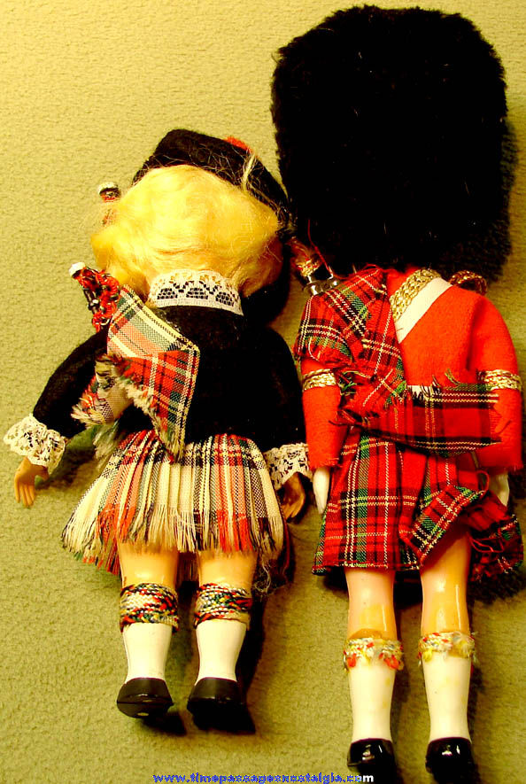 (2) Different Colorful Old Dressed European Bagpiper Toy Dolls