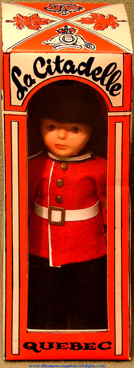 Colorful Old Boxed and Dressed Quebec Canada Citadel Guard Toy Doll
