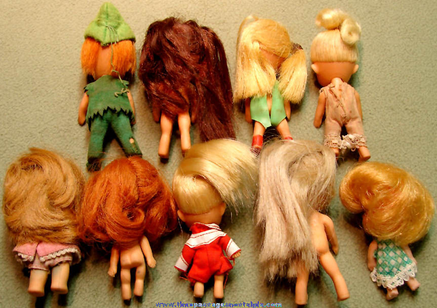 (9) Different ©1965 Mattel Liddle Kiddle Toy Character Dolls