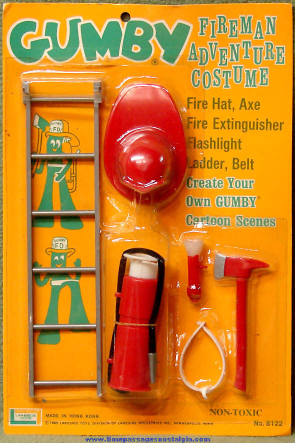 Unopened ©1965 Gumby Claymation Character Fireman Adventure Costume Kit