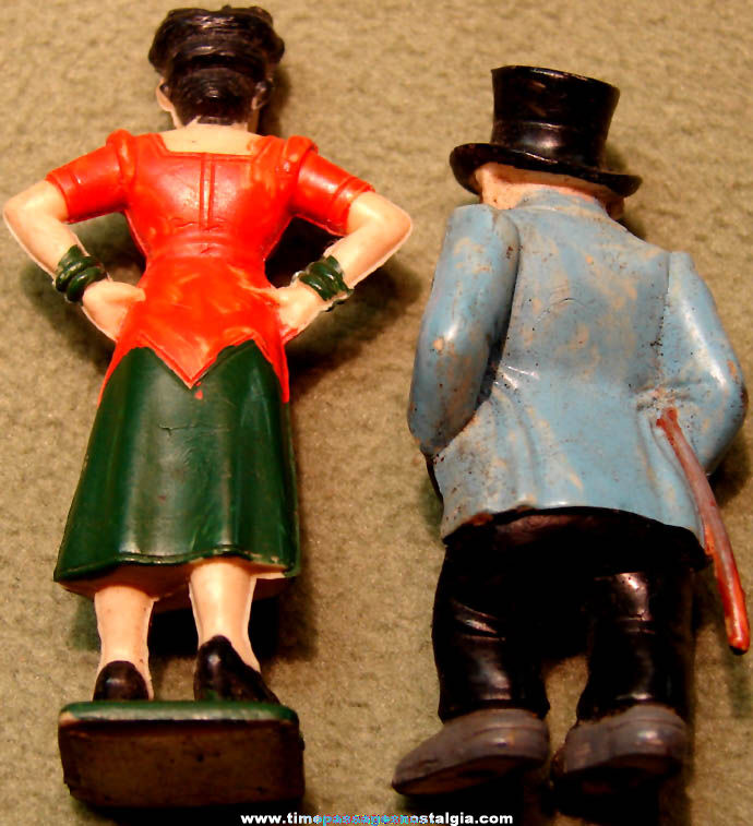 Old Painted Jiggs & Maggie Bringing Up Father Comic Strip Character Play Set Figures