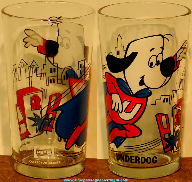 Old Underdog Cartoon Character Pepsi Advertising Drink Glass