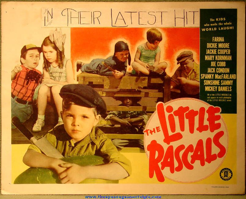 (2) Different Colorful Old Little Rascals Movie Theatre Lobby Card Posters