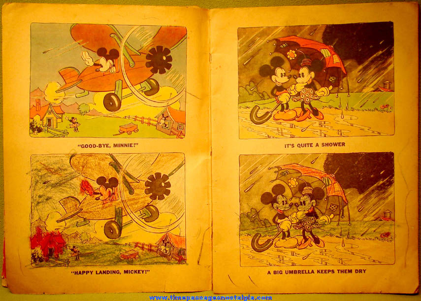 (2) Large 1930s Walt Disney Productions Mickey & Minnie Mouse Coloring Books