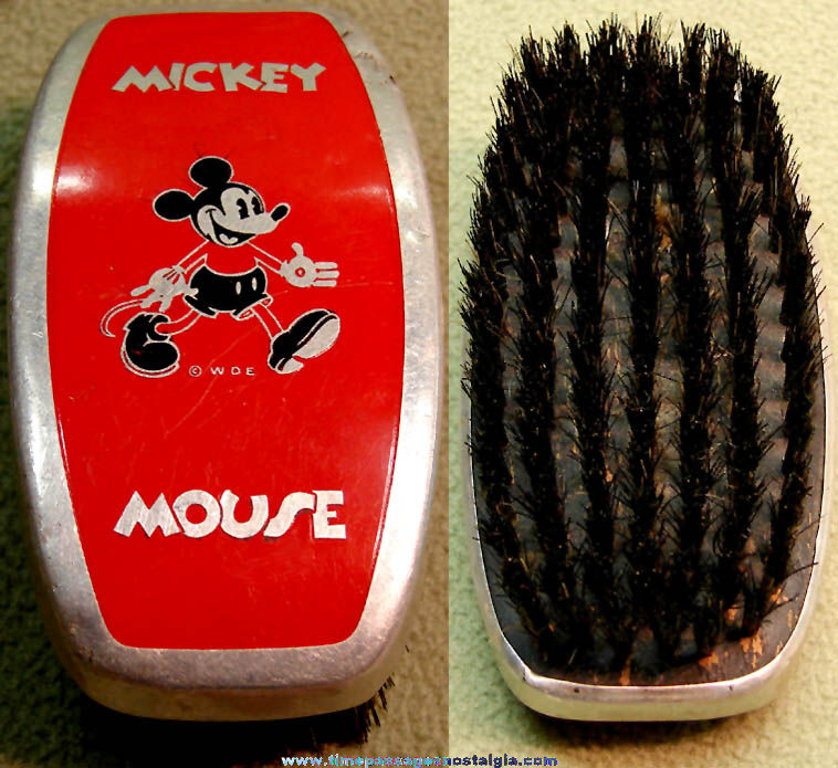 Early Walt Disney Enterprises Mickey Mouse Character Painted Metal Hair Brush