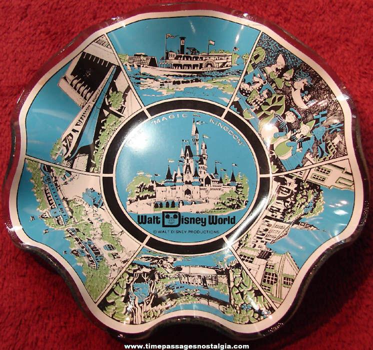 Old Walt Disney World Theme Park Advertising Souvenir Glass Tray