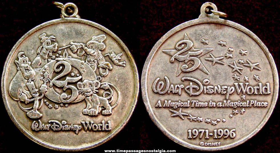 1996 Walt Disney World 25th Anniversary Advertising Souvenir Medal Pendant or Fob