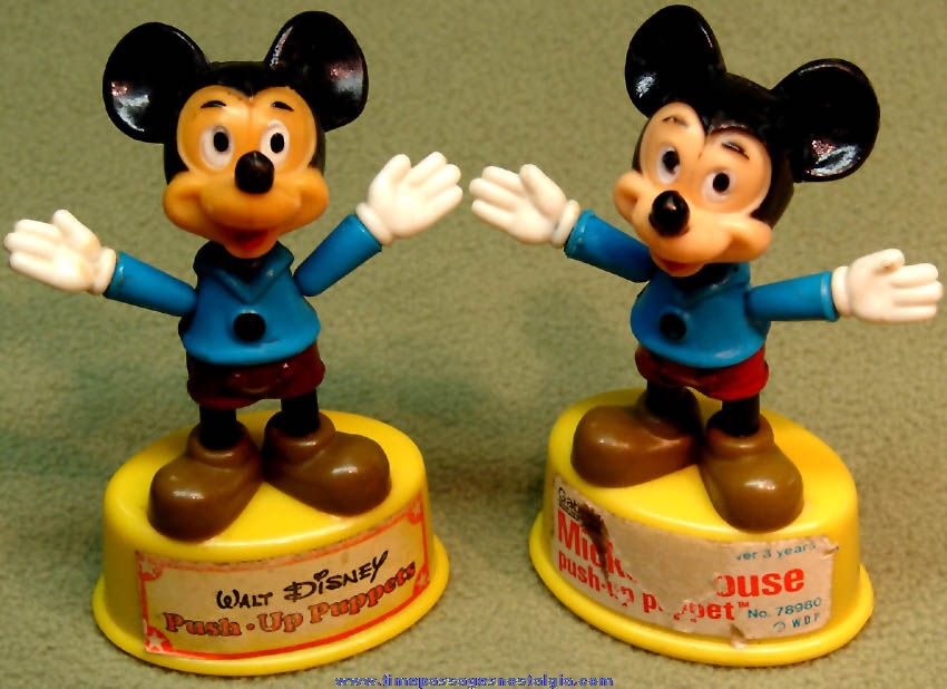 (2) ©1977 Walt Disney Productions Mickey Mouse Character Gabriel Push Up Puppets