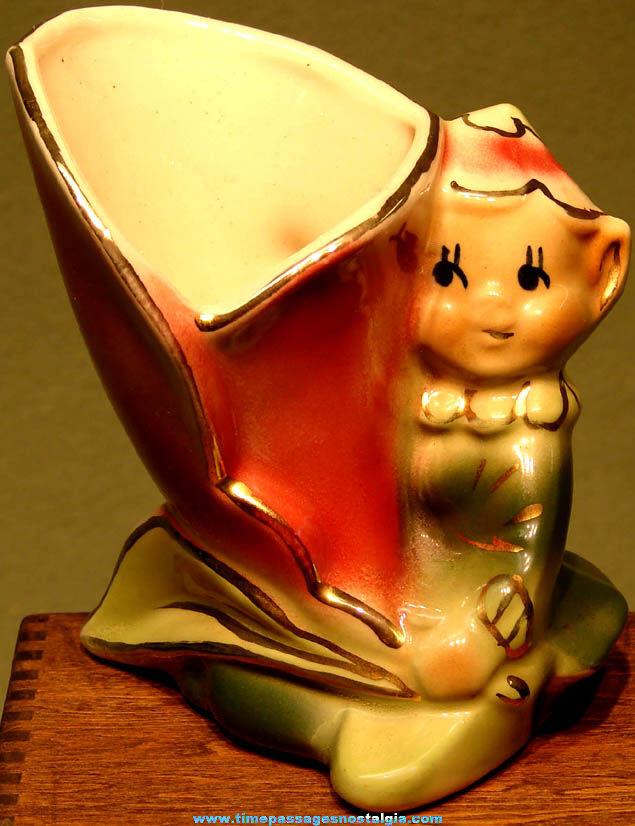 Colorful Old Porcelain Elf Figurine with Flower Vase or Planter