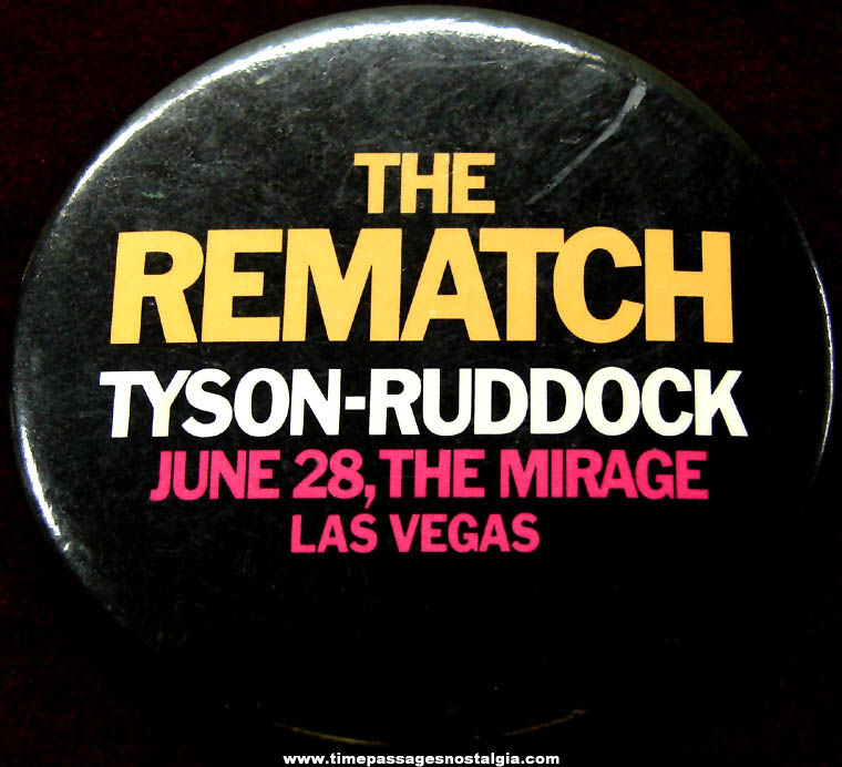 1991 Mike Tyson vs Donovan Ruddock II Rematch Boxing Sports Advertising Pin Back Button