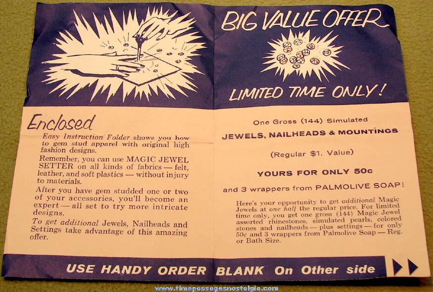 Early 1950s Colgate Palmolive Company Advertising Premium Magic Jewel Setter Kit