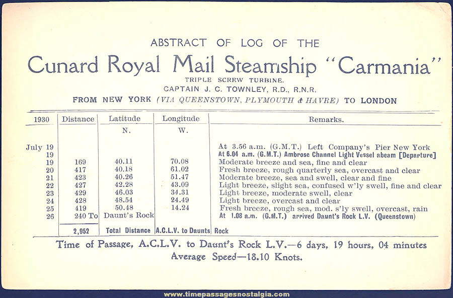 1930 Cunard Royal Mail Steamship Carmania Advertising Schedule Card