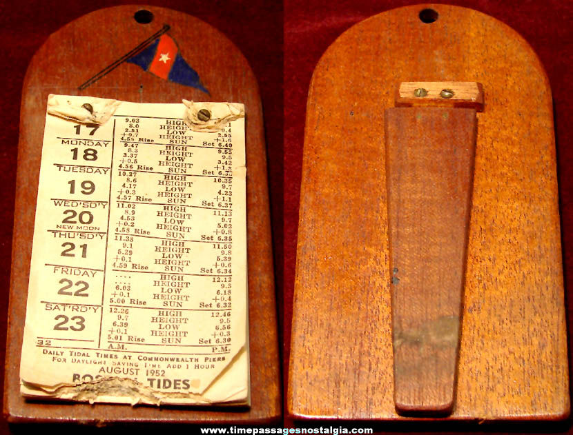 1952 United States National Geodetic Survey Tide Calendar with Wooden Holder