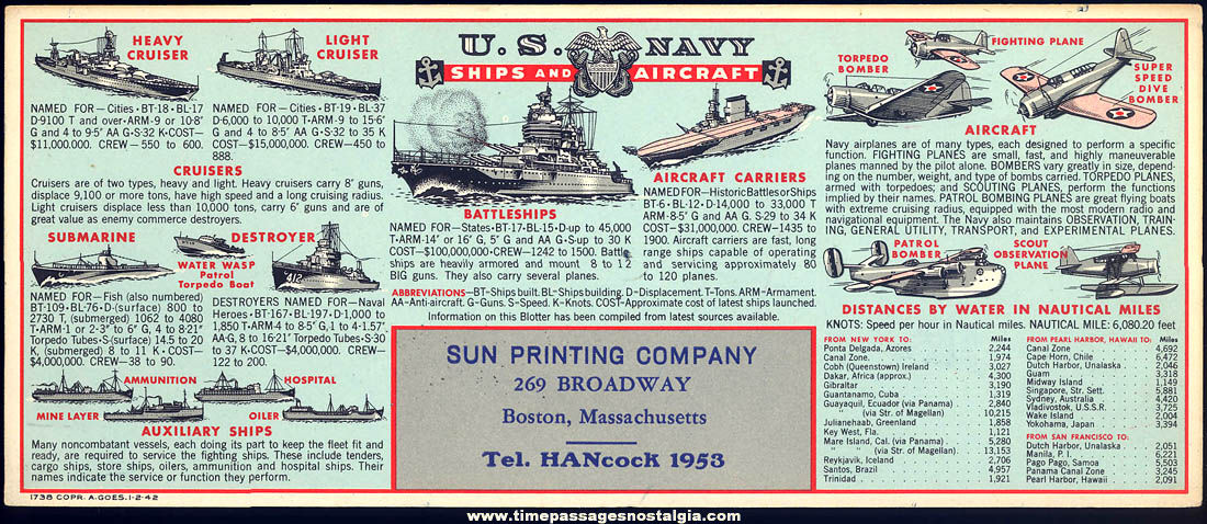 Unused 1942 United States Navy Ships & Aircraft Advertising Premium Ink Pen Blotter