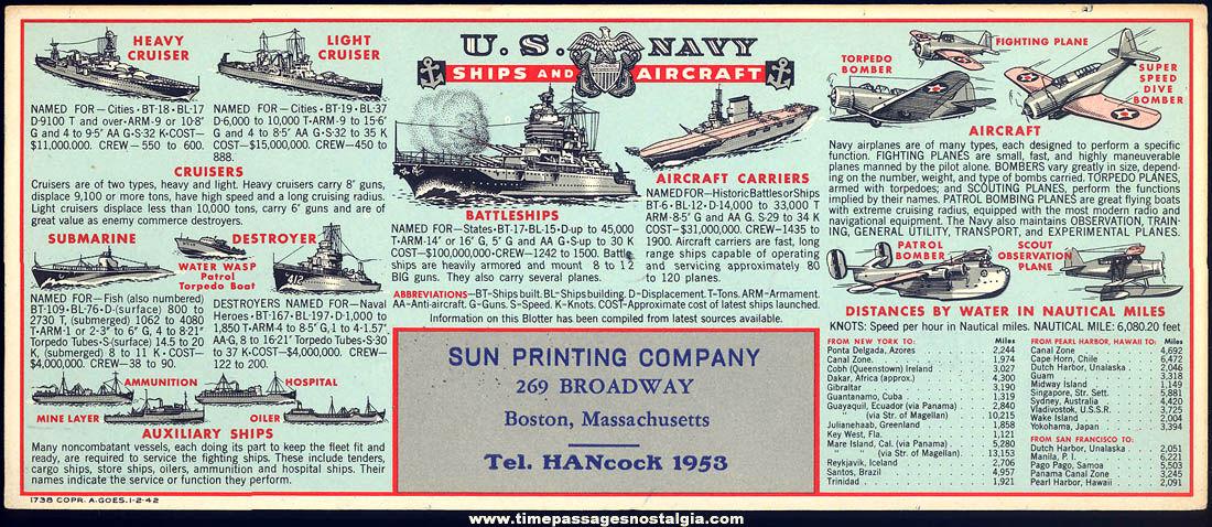 Unused 1942 United States Navy Ships & Aircraft Advertising Premium Ink Pen Blotter