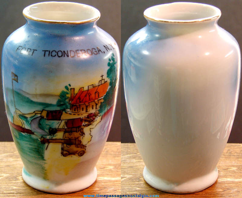 Small Old Hand Painted Fort Ticonderoga New York Advertising Souvenir Porcelain Vase