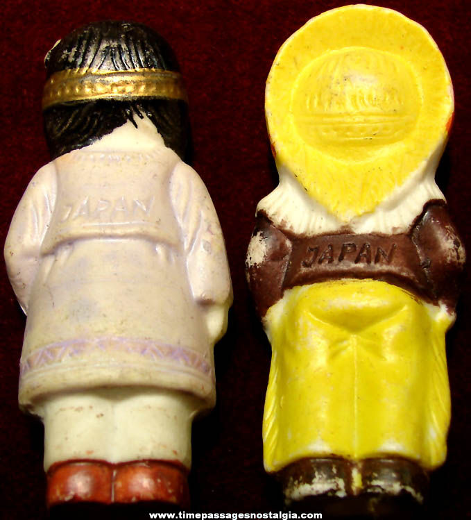 (2) Small Colorful Old Native American Indian Bisque Porcelain Figurines