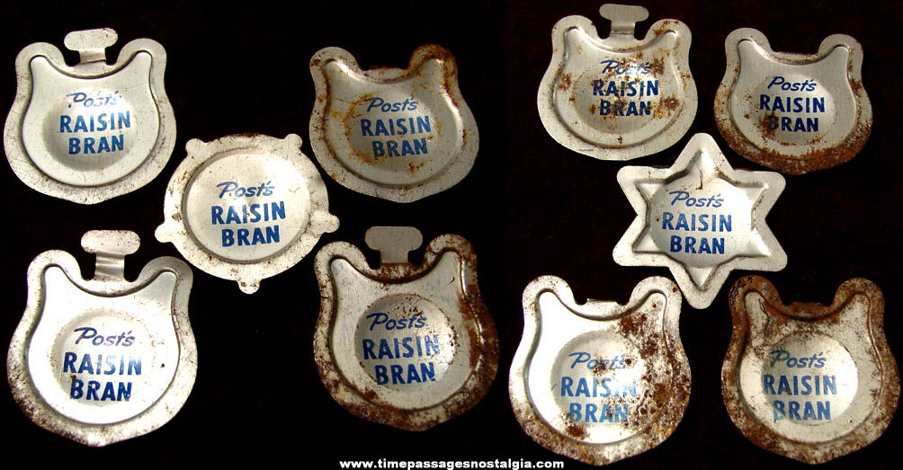 (10) 1950s Post Raisin Bran Cereal Tin Prize Western Medals or Badges