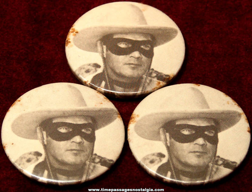 (3) Old Matching Lone Ranger Cowboy Character Hero Pin Back Buttons