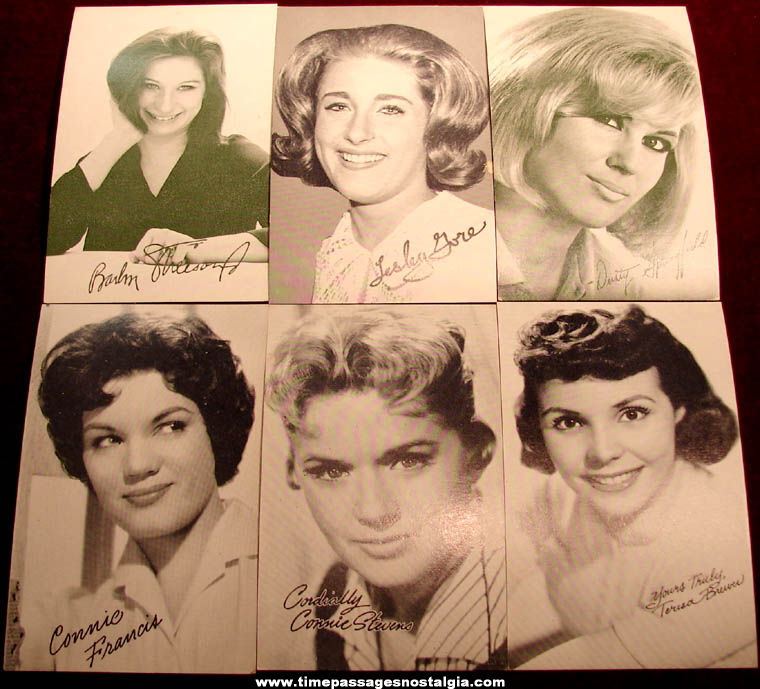 (6) Different 1950s or 1960s Women Singer & Actress Arcade Cards