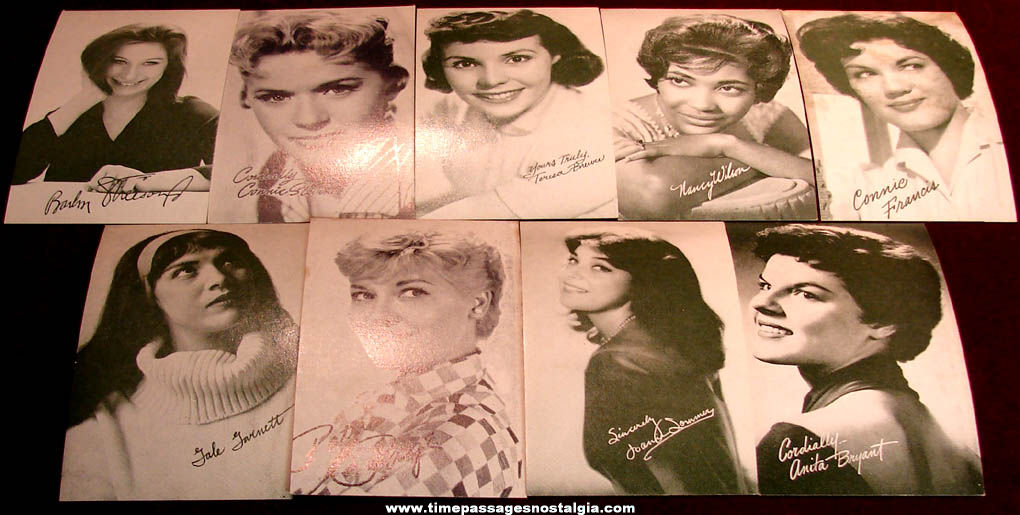 (9) Different 1950s or 1960s Women Singer & Actress Arcade Cards