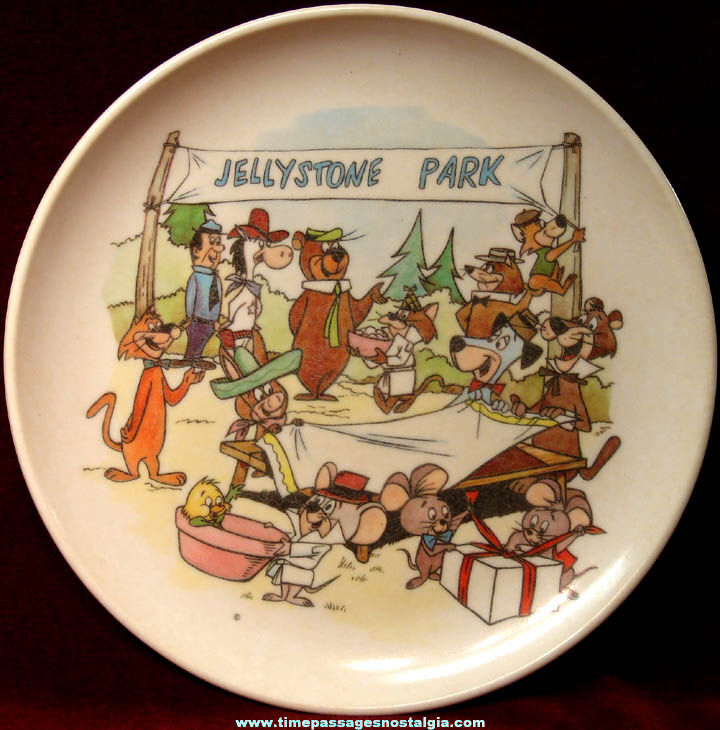 Colorful Old Hanna Barbera Cartoon Character Jellystone Park Children's Melmac Plate