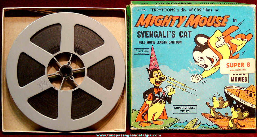 Boxed ©1966 Mighty Mouse in Svengali's Cat Super 8mm Cartoon Film