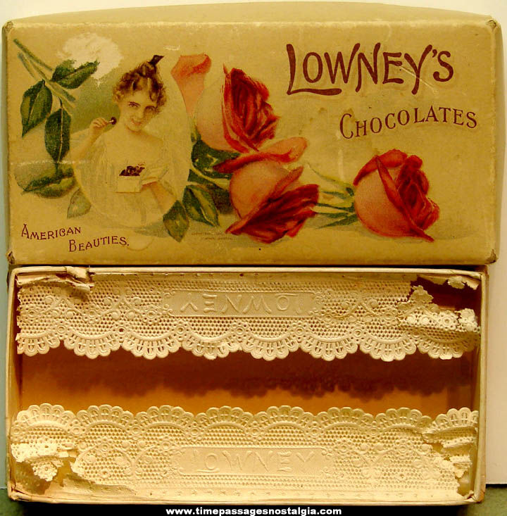©1901 Lowney's American Beauties Chocolates Candy Advertising Box