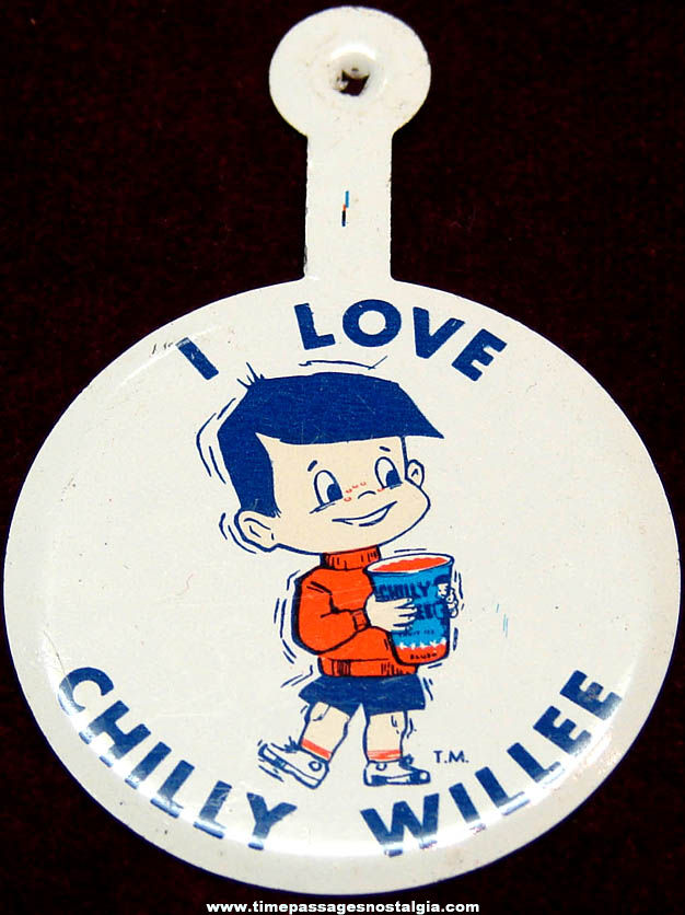 Old Unused Chilly Willee Drink Advertising Character Tin Tab Button