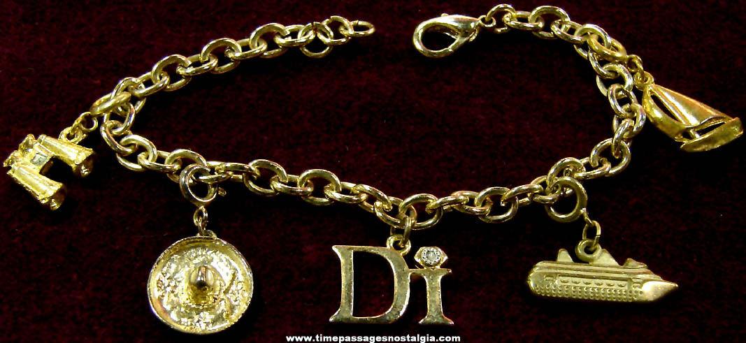 Old Diamonds International Advertising Premium Jewelry Charm Bracelet With (5) Charms