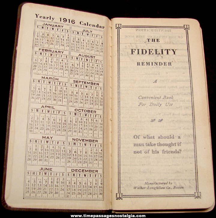1916 C. S. Pierce Company Shoe Advertising Premium Calendar Diary Booklet
