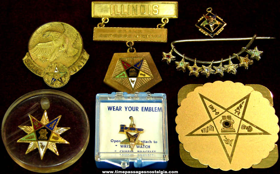 (7) Different Old Order of The Eastern Star Fraternal Organization Membership Items