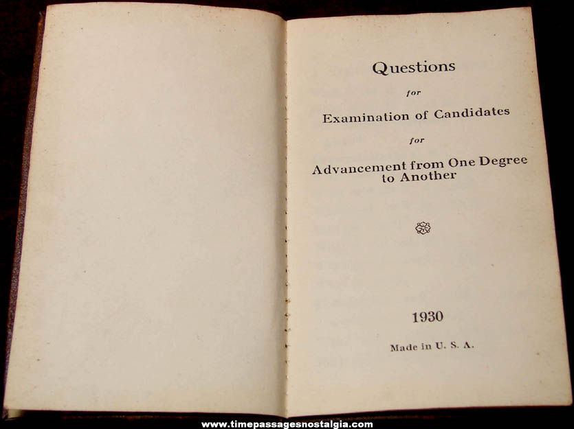1930 Odd Fellows or Rebekah Fraternal Organization Examination of Candidates Booklet