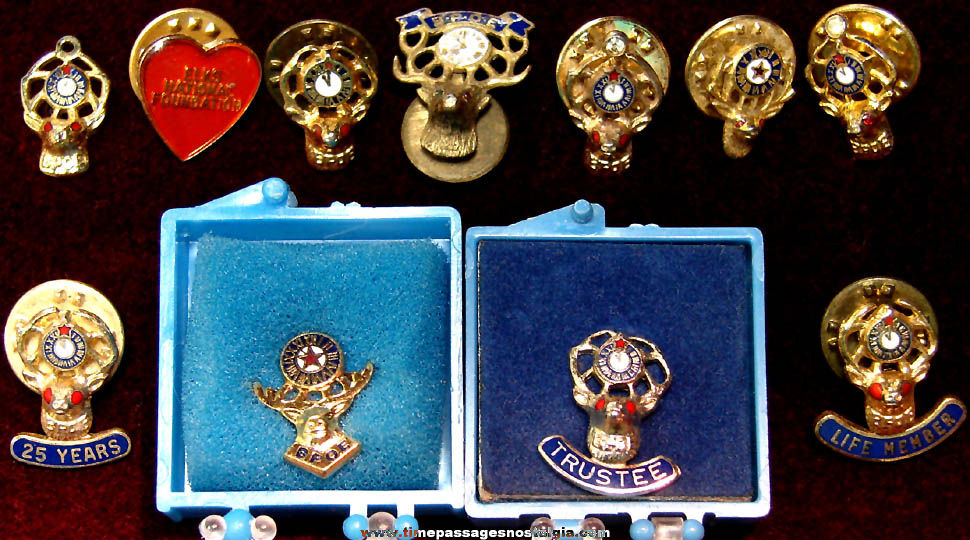(11) Benevolent and Protective Order of Elks Lodge Fraternal Organization Membership Pins and Charm
