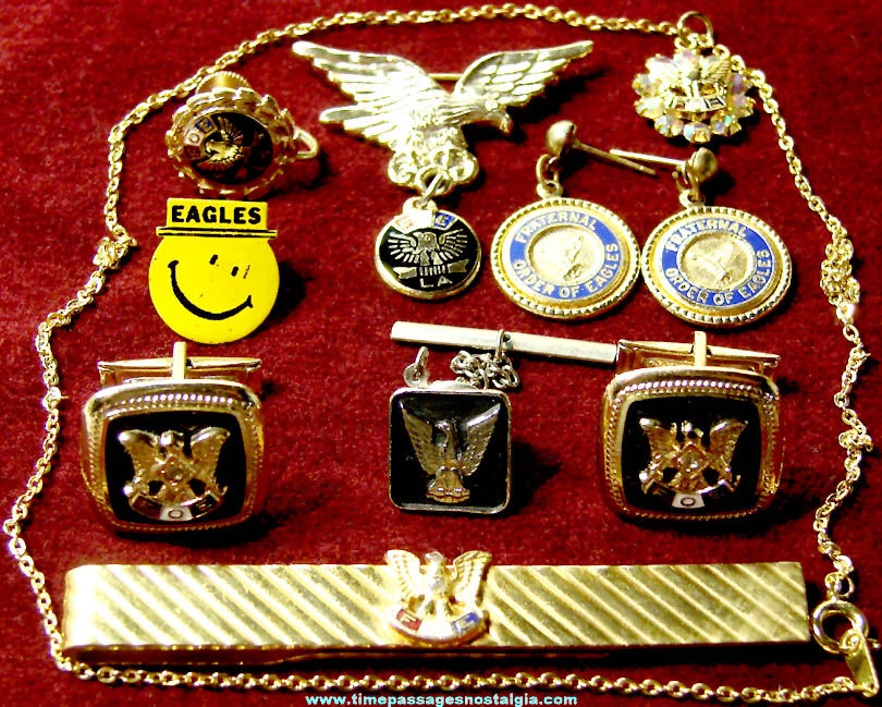 (10) Old Fraternal Order of Order of Eagles Advertising Jewelry Items