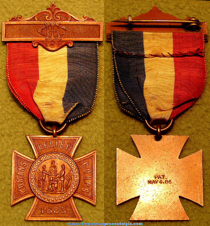 Old Womans Relief Corps Award Ribbon with Medal