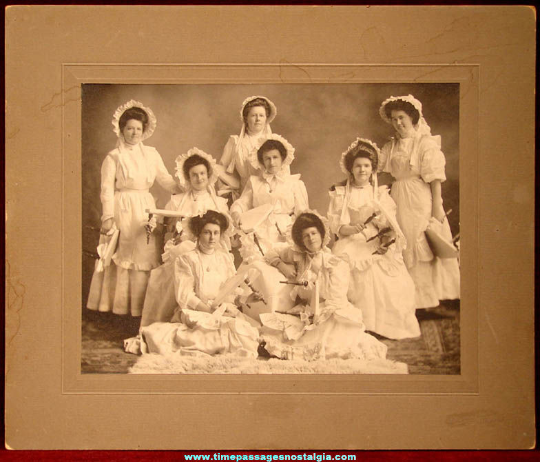 Large Old Named Ladies Milk Maiden Drill Photograph With Dresses & Milking Stools